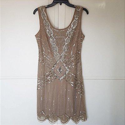 Vestido nude paetês vintage