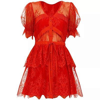 Vestido mini renda vermelho manga bufante decote V