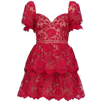 Vestido mini renda guipir vermelho manga bufante decote coração