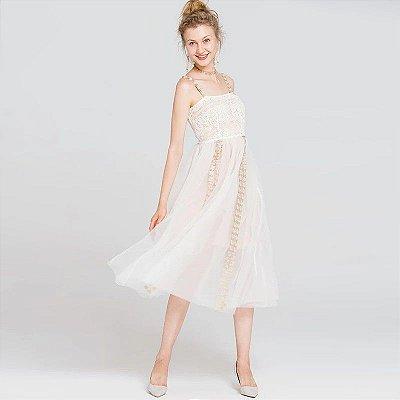 Vestido midi organza e renda branco alça patchwork