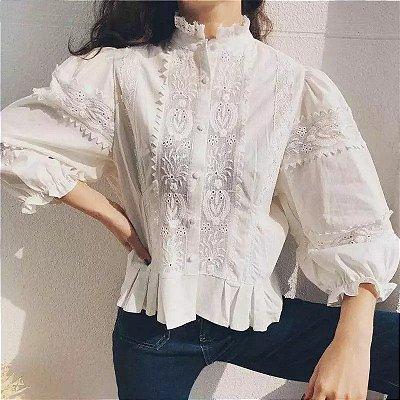 Camisa algodão boho bordado manga bufante