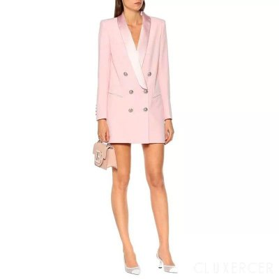 Blazer longo lapela pink