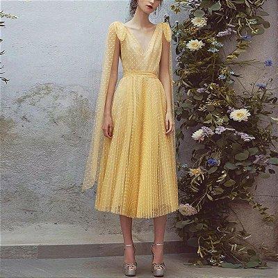 Vestido midi tule de poá amarelo alça amarração