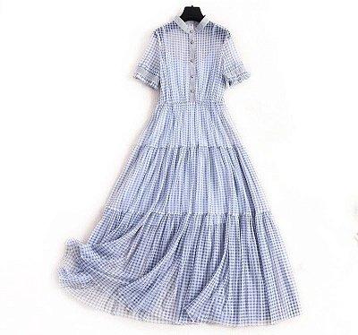 Vestido midi xadrez azul gola virada