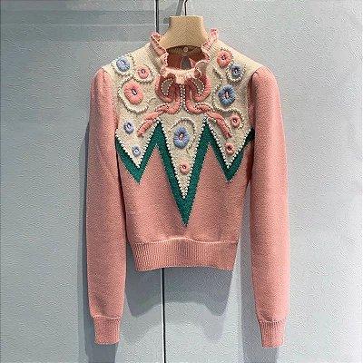 Blusa lã rosa melancia gola babado