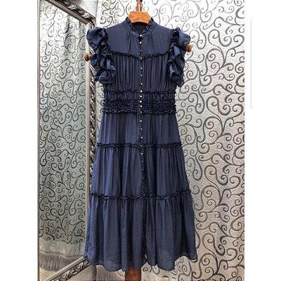 Vestido midi deep blue frufru