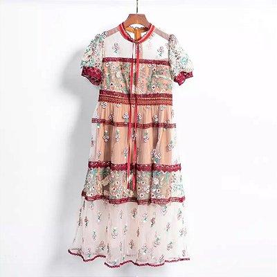 Vestido vintage bordô tule manguinha