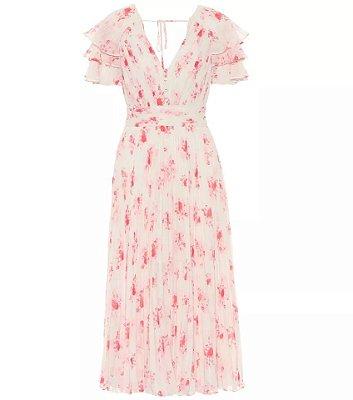 Vestido midi floral manga aberta decote V