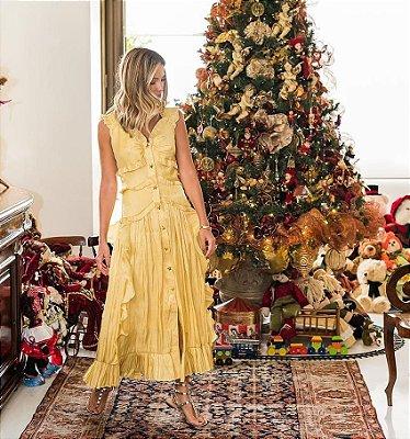 Vestido midi amarelo corpete babados