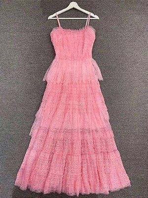 Vestido midi renda pink alcinha