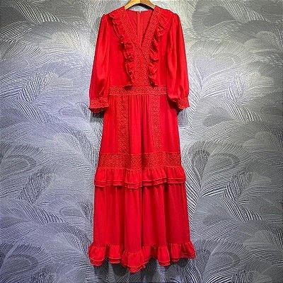 Vestido midi festa vermelho babados decote V