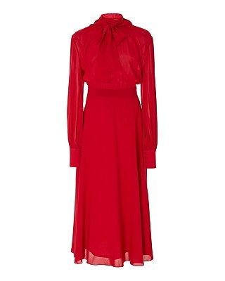 Vestido midi vermelho gola alta laço de tecido