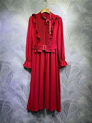 Vestido midi vermelho cinto vintage