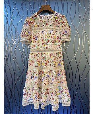 Vestido midi florido manguinha