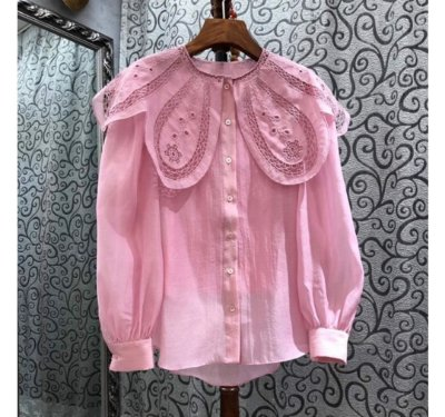 Camisa gola butterfly renda