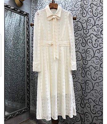 Vestido midi renda branco vintage gola virada