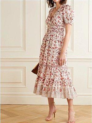 Vestido midi floral romance