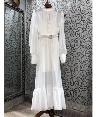 Vestido midi branco gola padre manga longa cinto