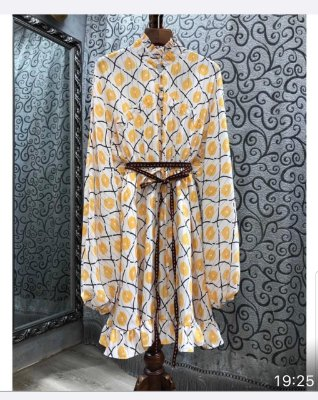 Vestido estampado mostarda gola alta manga bufante
