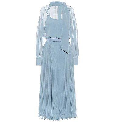 Vestido midi azul celeste faixa gola
