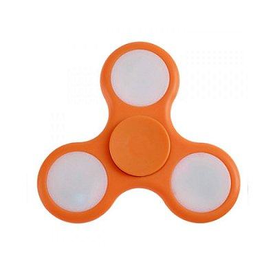 FIDGET HAND SPINNER ANTI STRESS COM LED - PLASTICO LARANJA