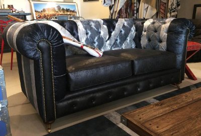 Sofá Chesterfield Uk Black Silver 2