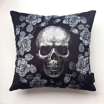 Almofada 45 Skull Roses Black