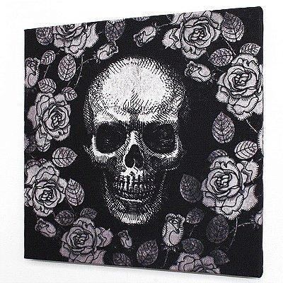 Tela Skull Roses Black