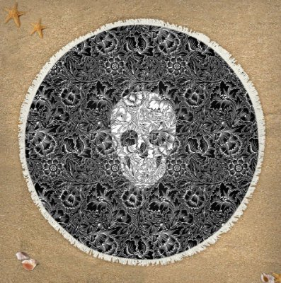 Canga Skull Flowers Black