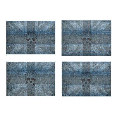 Jogo Americano Skull Jeans- 04 Peças