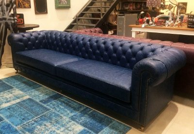 Sofá Chesterfield Couro Azul 3m