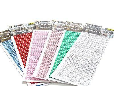 Cartela de Strass Adesivo para decorar lembrancinhas de 5 mm