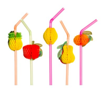 Enfeites para Drinks - Canudo Fruta para Festas (12 unid.)