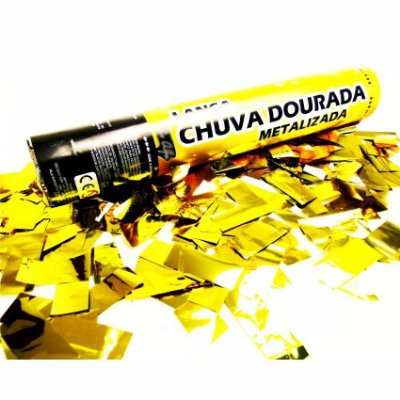Kit festa com 3 Lança Confete Chuva Dourada 40 cm