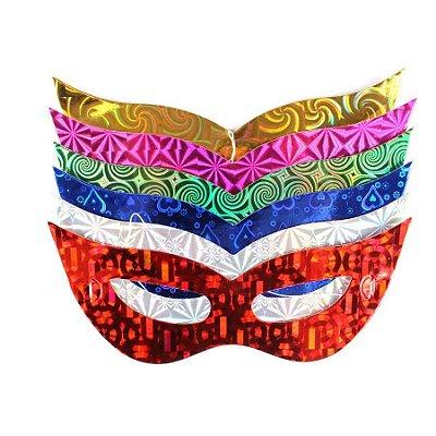 Máscaras de Festa Carnaval Holográfica com Elástico (40 unid.)