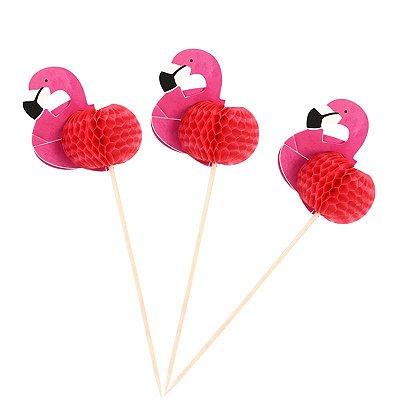 Enfeites para Drinks e Bolos Flamingo (12 unid.)
