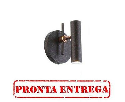 PRONTA ENTREGA / Arandela Tubo Vertical Redondo Alumínio Preto 16x13cm Old Artisan 1x GU10 Minidicróica Bivolt AR-5146 Salas e Hall