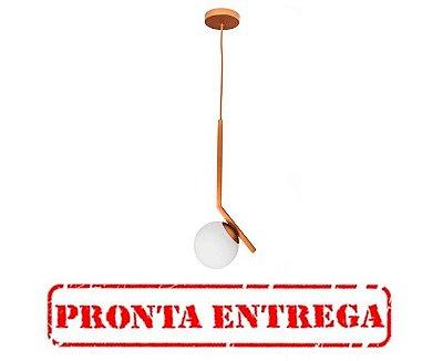 PRONTA ENTREGA / PENDENTE ANGULAR 16455/1 Usina Design Moderno com GLOBO Vidro Ø140mm 190x480x1000 1 - E27 / G45