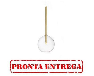 PRONTA ENTREGA / Pendente Bolha Vidro Vertical Alumínio Dourado 80x25cm Old Artisan 1x G9 Halopin Bivolt PD-5222 Mesas e Entradas