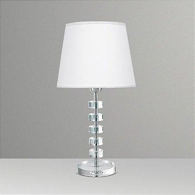 Abajur Decorativo Cristal Intercalado Cúpula Tecido Bivolt 50cm de Altura Elos Golden Art E-27 M086 Quartos e Salas