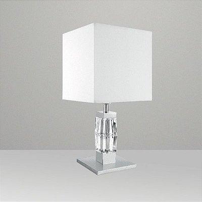 Abajur Vidro Lapidado Cúpula Quadrada Tecido Bivolt 55cm de Altura Ice Golden Art E-27 M081 Cabeceiras e Mesas