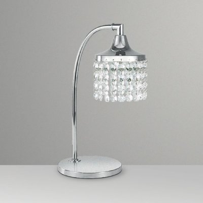 Abajur Luminária Mesa Cromado Cúpula Cristal Bivolt Estudo 30cm de Altura Francis Golden Art G9 M067 Cabeceiras e Mesas