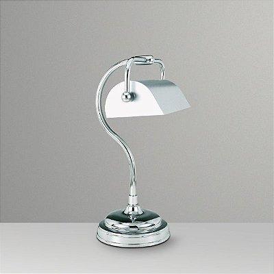 Abajur Luminária de Mesa Alumínio Calha Cromada Bivolt Leitura 35cm de Altura Golden Art E-27 M036 Quartos e Salas