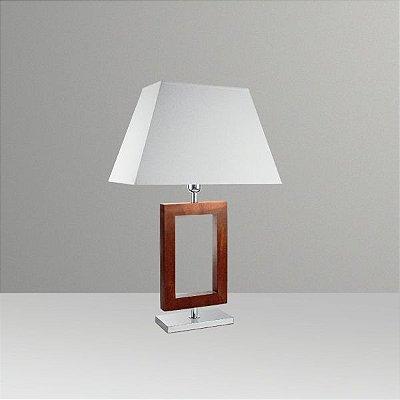 Abajur Rústico Decorativo Moderno Retangular Madeira Cúpula Bivolt 66cm de Altura Golden Art E-27 M634-MA Quartos e Salas