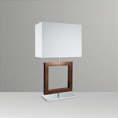 Abajur Rústico Decorativo Quadrado Madeira Cúpula Tecido Bivolt 66cm de Altura Golden Art E-27 M632-MA Mesas e Salas