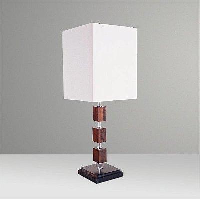 Abajur Rústico Cubo Madeira Alternada Cúpula Quadrada Tecido Bivolt 73cm de Altura Golden Art E-27 M658 Mesas e Quartos
