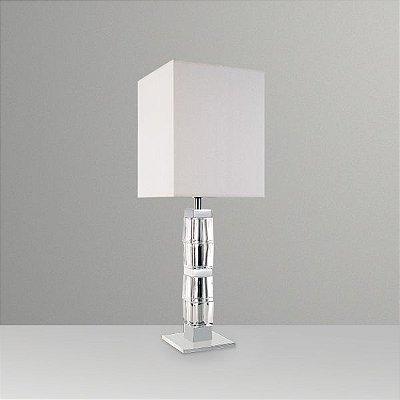 Abajur Vidro Cristal Lapidado Cúpula Quadrada Tecido Bivolt 74cm de Altura Ice Golden Art E-27 M686 Quartos e Salas