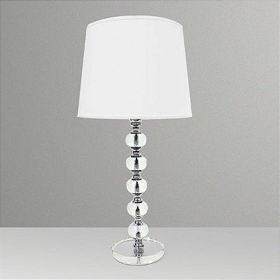 Abajur Decorativo Vidro Cristal 5 Bolas Cúpula Tecido Bivolt 68cm de Altura Golden Art E-27 M678 Quartos e Salas
