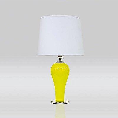Abajur Vidro Colorido Amarelo Cúpula Cônica Tecido Bivolt 58cm de Altura Drop Golden Art E-27 M727 Quartos e Salas