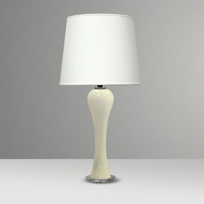 Abajur Base Vidro Pintado Branco Cúpula Tecido Bivolt 84cm de Altura Bille Golden Art E-27 M725-BR Quartos e Salas